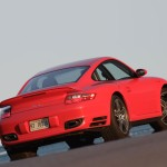 2007 Red Porsche 911 Turbo Wallpaper Rear angle side view