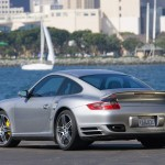 2007 Silver Porsche 911 Turbo Wallpaper Rear side angle view