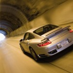 2007 Silver Porsche 911 Turbo Wallpaper Rear angle view