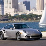 2007 Silver Porsche 911 Turbo Wallpaper Front angle side view