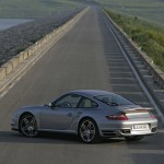 2007 Silver Porsche 911 Turbo Wallpaper Rear angle side view