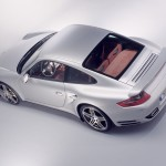 2007 Silver Porsche 911 Turbo Wallpaper Rear side angle top view