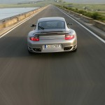 2007 Silver Porsche 911 Turbo Wallpaper Rear view