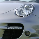 2007 Silver Porsche 911 Turbo Wallpaper Front angle corner view