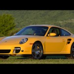 2007 Yellow Porsche 911 Turbo Wallpaper Front angle side view