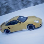 2007 Yellow Porsche 911 Turbo Wallpaper Side angle view