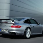 2008 Silver Porsche 911 GT2 Wallpaper Rear angle side view