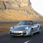 2008 Silver Porsche 911 Turbo Cabriolet Wallpaper Front angle view