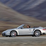 2008 Silver Porsche 911 Turbo Cabriolet Wallpaper Side view
