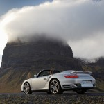 2008 Silver Porsche 911 Turbo Cabriolet Wallpaper Rear angle side view