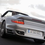 2008 Silver Porsche 911 Turbo Cabriolet Wallpaper Rear angle view