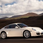 2009 White Porsche 911 Carrera Wallpaper Side angle view