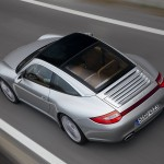 2009 Silver Porsche 911 Targa 4 Wallpaper Rear angle top view