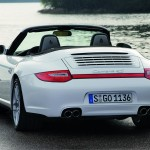 2009 White Porsche 911 Carrera 4 Cabriolet Wallpaper Rear angle view