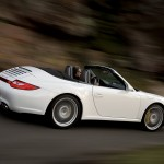 2009 White Porsche 911 Carrera 4 Cabriolet Wallpaper Side angle view