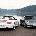 2009 White Porsche 911 Carrera 4 Cabriolet Wallpaper Rear view
