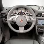 2009 White Porsche 911 Carrera 4 Cabriolet Wallpaper Interior Steering wheel