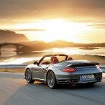 2010 Grey Porsche 911 Turbo Cabriolet Wallpaper Rear angle view