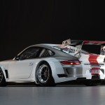 2010 White Porsche 911 GT3 R Wallpaper Rear angle side view
