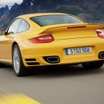 2010 Yellow Porsche 911 Turbo Wallpaper Rear angle view