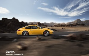 2011 Yellow Porsche 911 Carrera 4 GTS Coupe Side view
