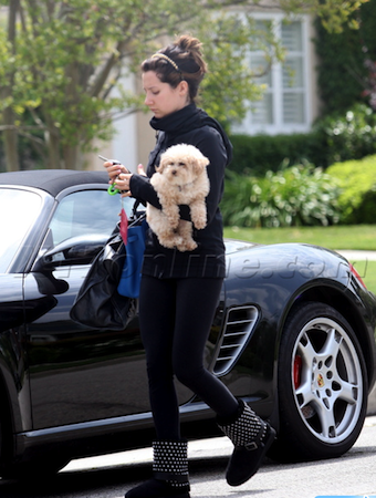 Celebrity Car Picture of Ashley Tisdale and black Porsche Boxster