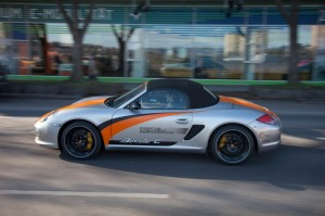 Electric Porsche Boxster E First drive Side view Roof on