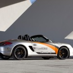 Electric Porsche Boxster E First drive Rear angle side view