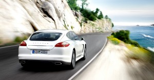 2011 White Porsche Panamera Diesel 3000x1560 wallpaper Rear angle view