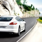 2011 White Porsche Panamera Diesel wallpaper Rear angle view