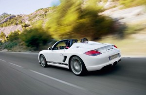 2010 Porsche Boxster Spyder Rear Side view In motion