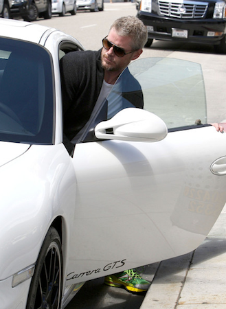Celebrity car- Eric Dane with his white Porsche 911 Carrera GTS
