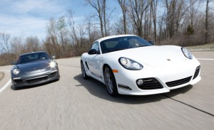 2012 White Porsche Cayman R Front angle view