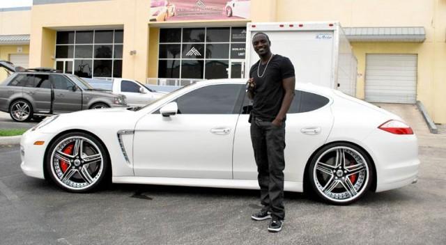 AKON Car - White Porsche Panamera