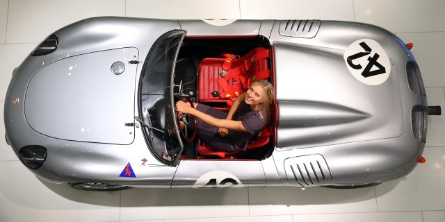 Maria Sharapova poses at the Porsche Museum